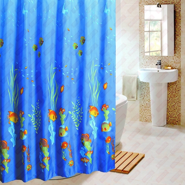 Modern Blue Fish Waterproof Fabric Shower Curtains For Bathroom With Hooks