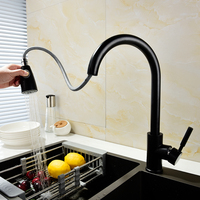Free Shipping Solid Brass Black Finish Pull Out 2 Way Function Water Mixer Tap Kitchen Faucet
