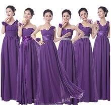 Горячая Королевский Фиолетовый Невесты Платье Длинные формальные Шифон Линии Темно-Фиолетовый Невесты Баклажан Платье