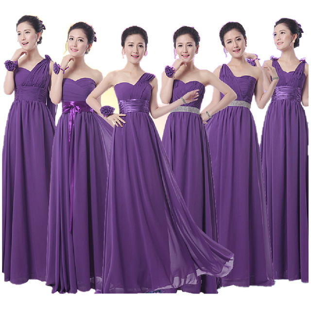 2016 Hot Royal Purple Bridesmaid Dress Long Formal Chiffon A Line Dark Eggplant