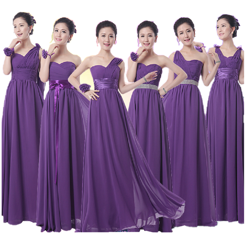 2016 hot Royal violet robe de demoiselle d'honneur longue formelle en mousseline de soie a-ligne violet foncé demoiselle d'honneur aubergine robe de soirée livraison gratuite