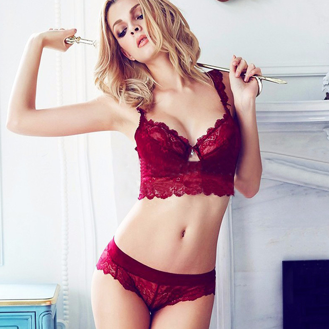 27ff0543eb Victoria New Women Sexy Bra Set Ultra-thin Red Black Lace Adjustable Bras  Underwear Plus Size Push Up Bra Panties Set ABCD Cup