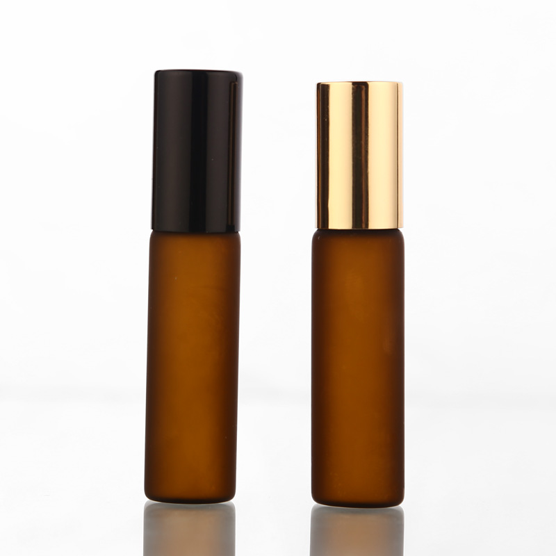 50pcs/lot 5ml Frosted Amber Perfume Glass Roll On Bottle With Glass/Metal Ball Brown Roller Essential Oil Vials Thin