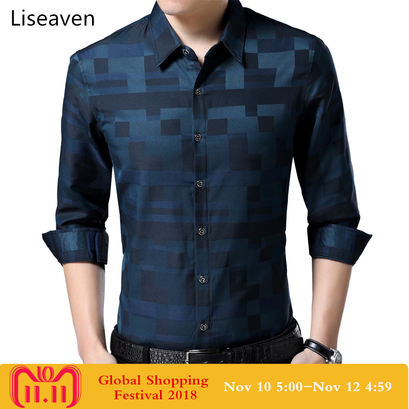 Liseaven Men's Shirt Brand New Men Shirts Full Sleeve Dress Shirt Turn-down Collar Male Casual Shirt Mens Clothing 1