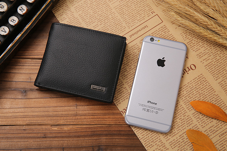 genuine leather wallet with iPhone