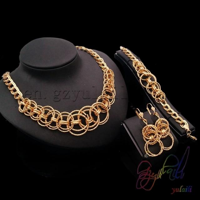 Free Shipping Saudi Arabia Gold Jewelry Dubai Jewellery Set 1 Gram Gold Bangles