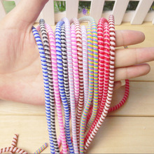 1 7M Cute Wire Rope Protection Suit Spring Cable Winder Data Line Protector For iPhone 5