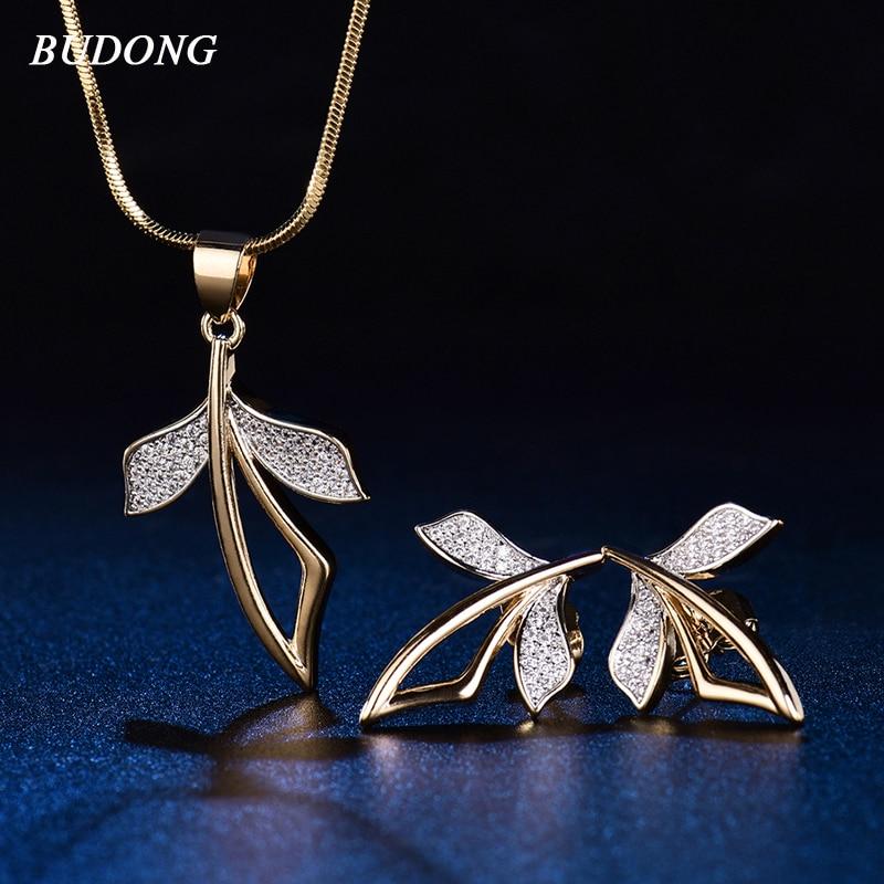 BUDONG font b Luxury b font font b Jewelry b font Sets Neckalce Earrings Engagement Gold