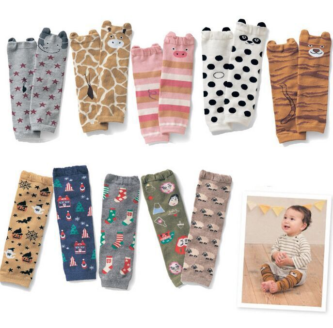 Baby Leg Warmers Animal Printed Toddler Knee Pads Kids Children Legwarmers Safety Crawling Cusion Pads Infant Protector 5pairs