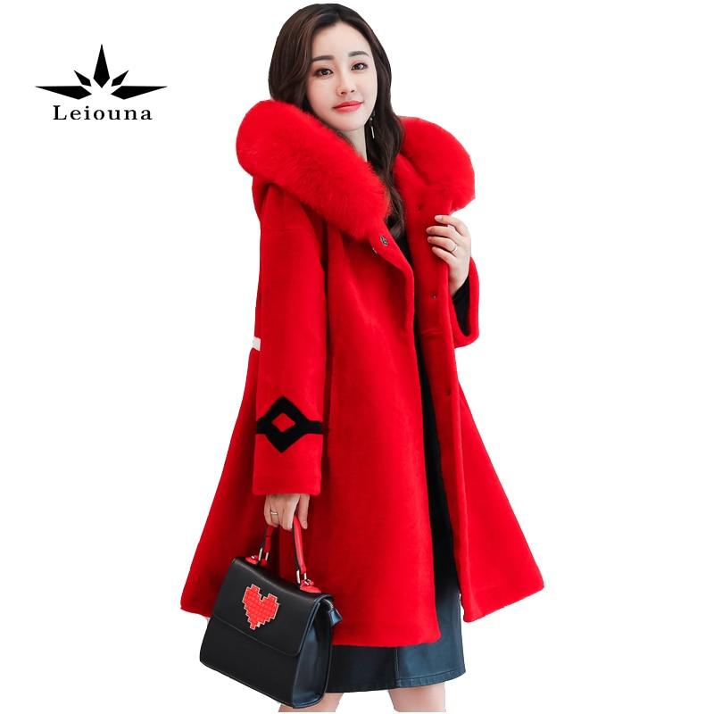 Red Woollen Overcoat Woman Parka Jacket Women Female Coat Winter Warm With Fur Long Loose Outwear Basic Wool Blend saf thicken warm winter coat hood parka overcoat long jacket outwear
