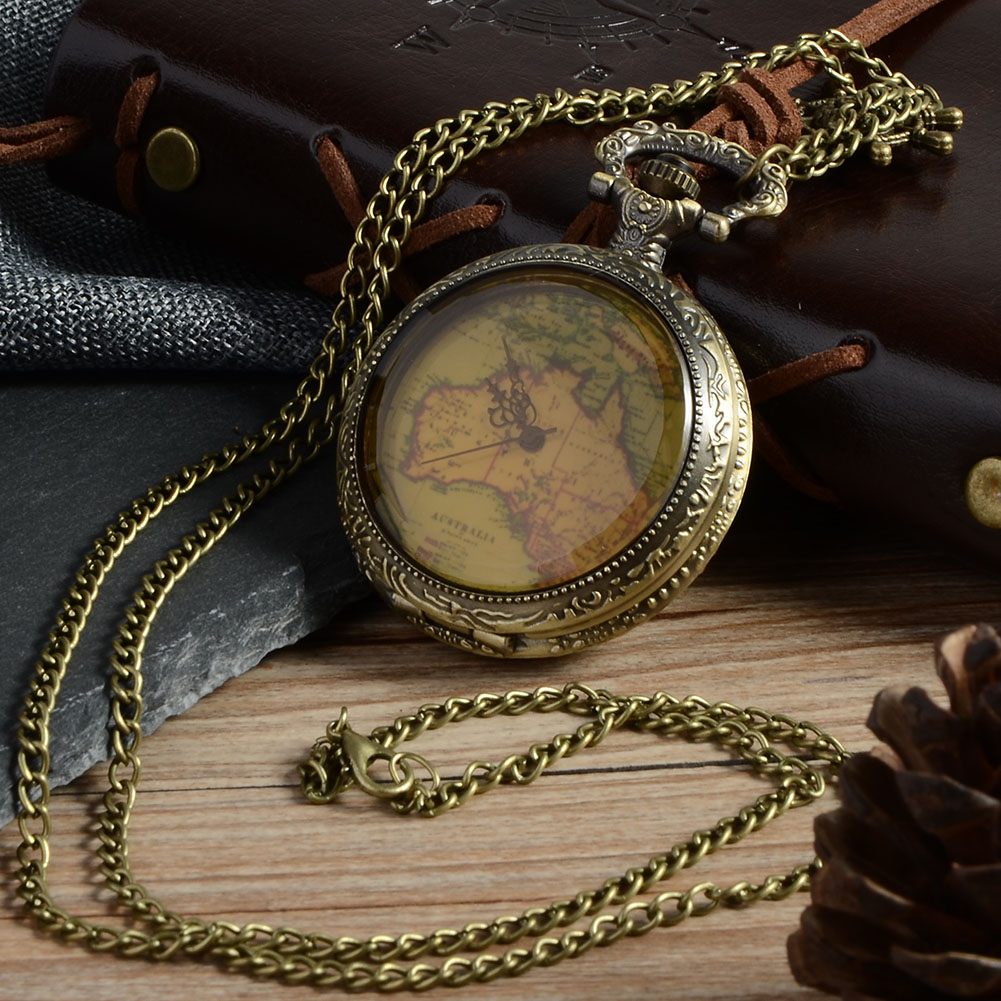 Cindiry Lovesky Elegant Golden Snitch Quartz Fob Retro Antique Chain AU Map Necklace Pendant Pocket Watch Christmas Gift P20 antique retro bronze car truck pattern quartz pocket watch necklace pendant gift with chain for men and women gift