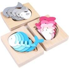 Монтессори Деревянные обучающие игрушки для детей милые животные