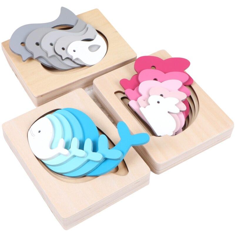 Montessori Materials Wooden Sensorial Educational Toys For Children Cute Animals Multilayer Puzzle Montessori Wood Puzzle UD1064