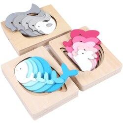 Montessori materiais de madeira sensorial brinquedos educativos para crianças animais bonitos multicamadas quebra-cabeça montessori madeira ud1064