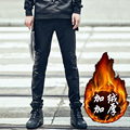 S~5XL! New 2016 Men's clothing thickening cashmere colorant match leather pants elastic waist slim thermal trousers costumes
