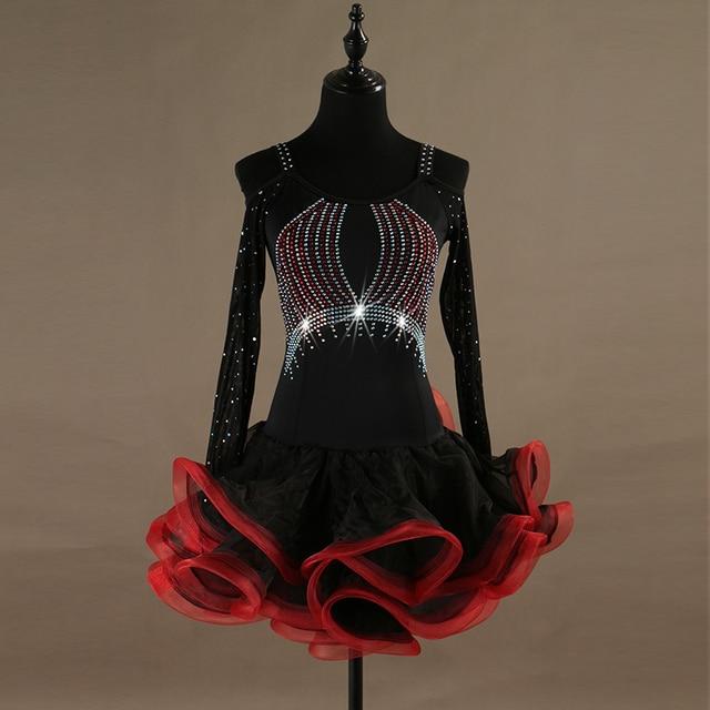 8e130b1a502b Mesh diamond Long sleeve latin dance dress women Black red tango salsa latin  competition dress lady Ramba latin dress for woman