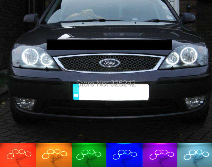 For FORD Mondeo MK3 2001 2003 2004 2005 2006 2007 Excellent Angel Eyes kit Multi-Color Ultrabright RGB LED Angel Eyes Halo Rings