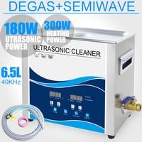 6.5L Ultrasonic Cleaner Bath 180W 40KHZ Degas Heater Ultrasound Lab Dental Tools Sterilizer Cleaning Circuit board Car Chains