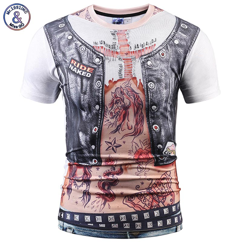 Mr.1991INC Fashion Guide Designer T-shirt Men/Women Fake Two Pieces T shirt 3d Tops Fake Leather Vest Print Tee shirt