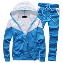 Neu eingetroffen fashion männer Blau Weiß sportswear trainingsanzug hoodies und hosen 4 farben M-5XL