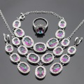 Multicolor Rainbow Stones Silver Color Jewelry Sets For Women Necklace Pendant Bracelet Long Earrings Rings Free Gift Box