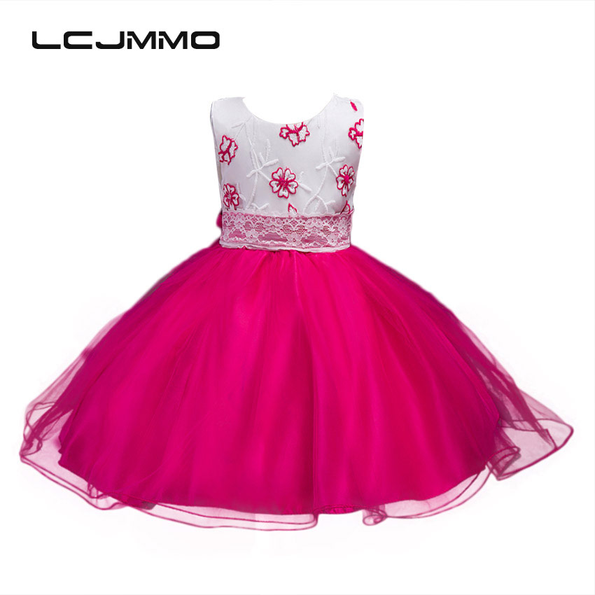 LCJMMO New 2017 Flower Girls Dress For Weddings Party Embroidered Princess Ball Gown Kids Dresses Summer Elegant Girl Clothes lcjmmo new girls party dresses summer 2017 brand kids bow plaid dress princess costumes for girl children clothes 2 7 years