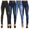 228-2 Mulheres Moda Outono Breve Cintura Alta Skinny Luz Washed Branqueada de Algodão Single-Breasted calças de Brim Longas 4 cores GZTF