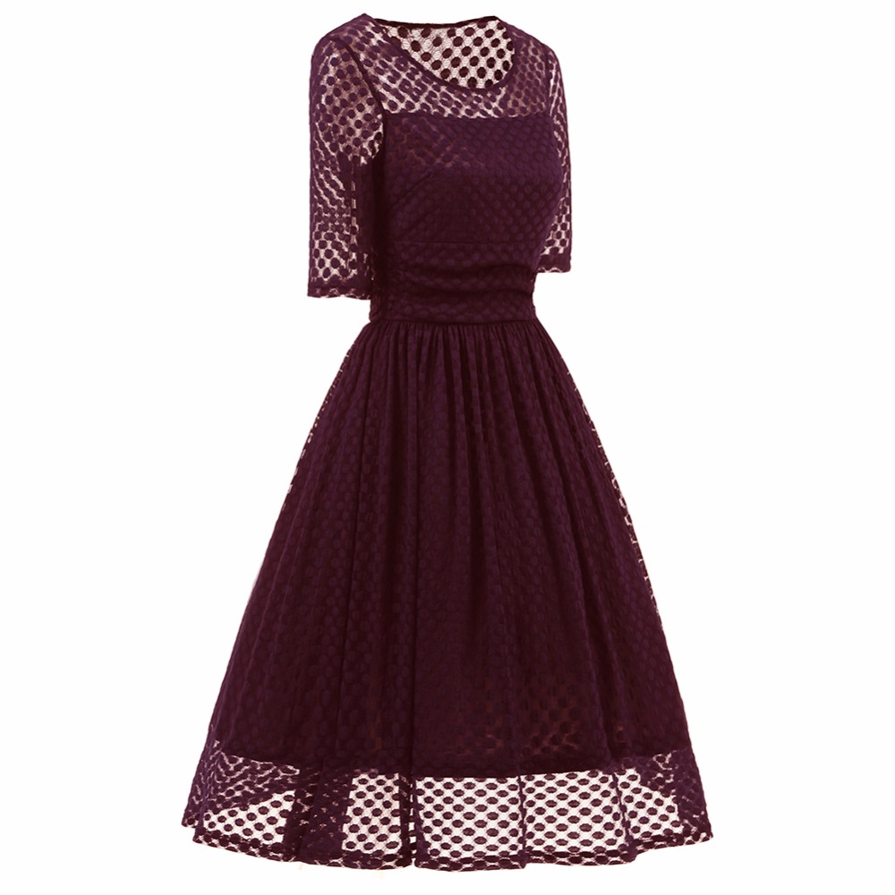 Vintage retro Hepburn style sexy lace dress see through dots lace ... 4a8c78913053