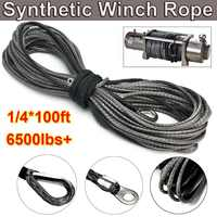 30m Towing Rope 6500lbs Synthetic Winch Grey Recovery Rope for ATV UTV Off-Road 1/4 Inch 100ft Winch Cable Towing Rope
