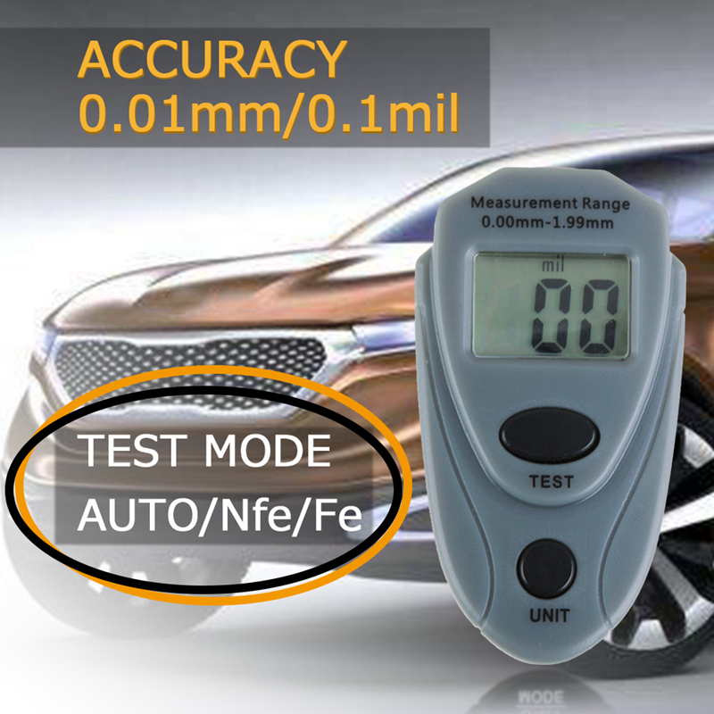Digital Thickness Gauge Film Thickness Gauge Coating Thickness Gauge Tester 0-2 mm Measurement of Thickness of Iron-Based /& Non-Ferrous-Based /& Paint etc.