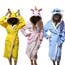 Унисекс, пижама с животными, халат для сна, Милая Ночная рубашка с единорогом, стильный ночной халат, халат, зимняя Домашняя одежда, халаты для женщин и мужчин