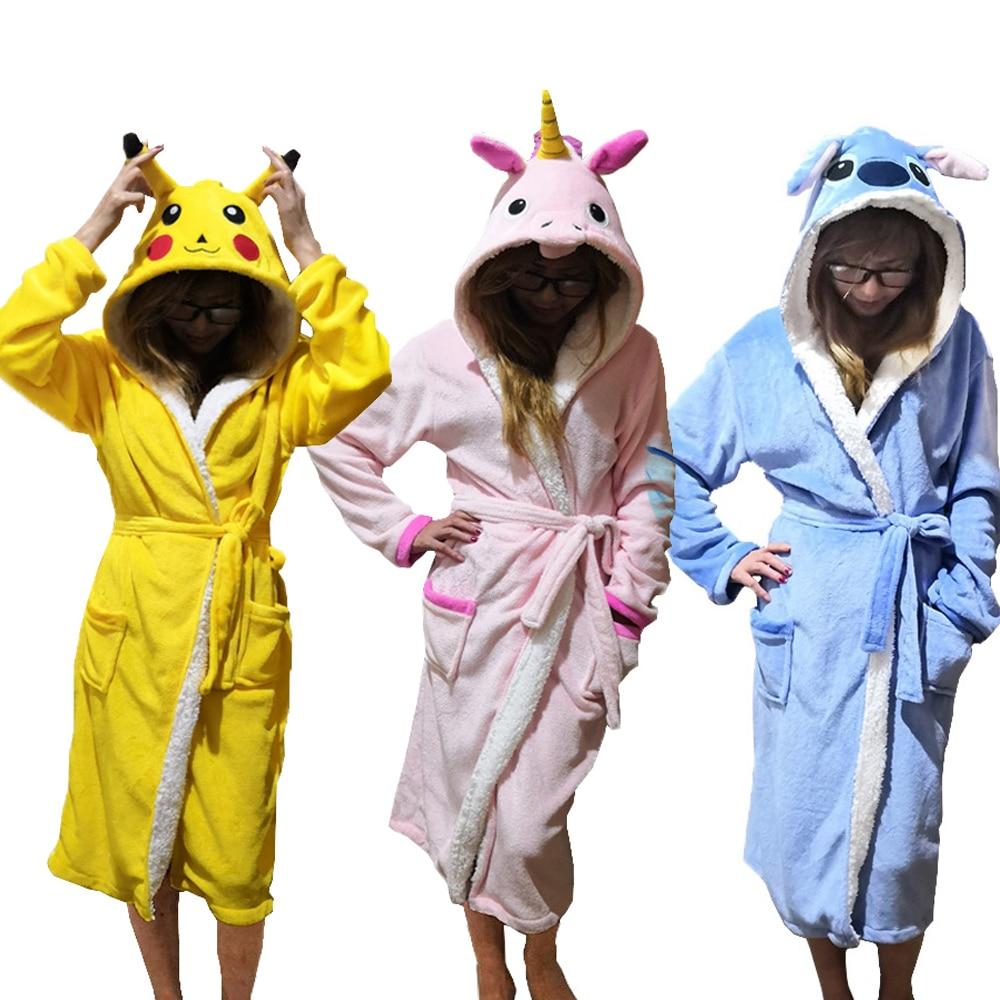 Unisex Animal Sleepwear Robe Sleep Cute Nightgown unicorn Stich night robe Bathrobe Winter Homewear Dressing Gowns For Women Men-in Robes from Underwear & Sleepwears