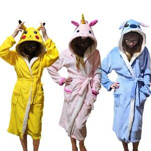 Image 1 - Unisex Animal Sleepwear Robe Sleep Cute Nightgown unicorn Stich night robe Bathrobe Winter Homewear Dressing Gowns For Women Men