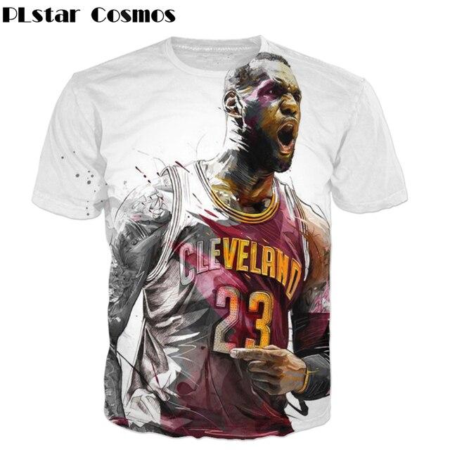 PLstar Cosmos Hot Sale 2018 Fashion Men T shirts Creative design T Shirt  Star Lebron James