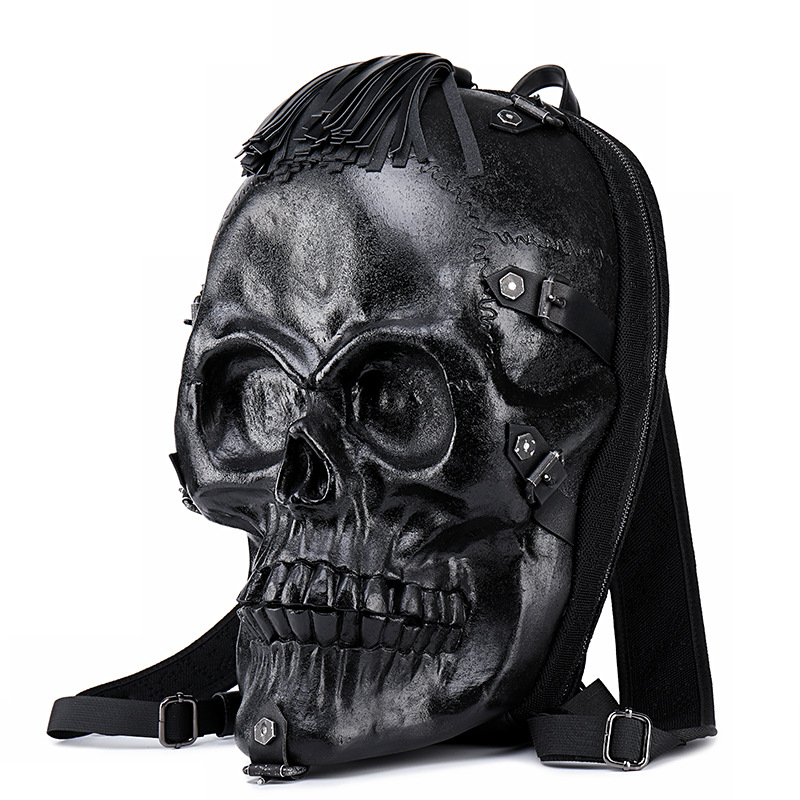 Men's Tassel Skull Backpack 3d Fright Head Emboss Shoulder Bag Travel Backpacks Restore Halloween Cool Leather Bags