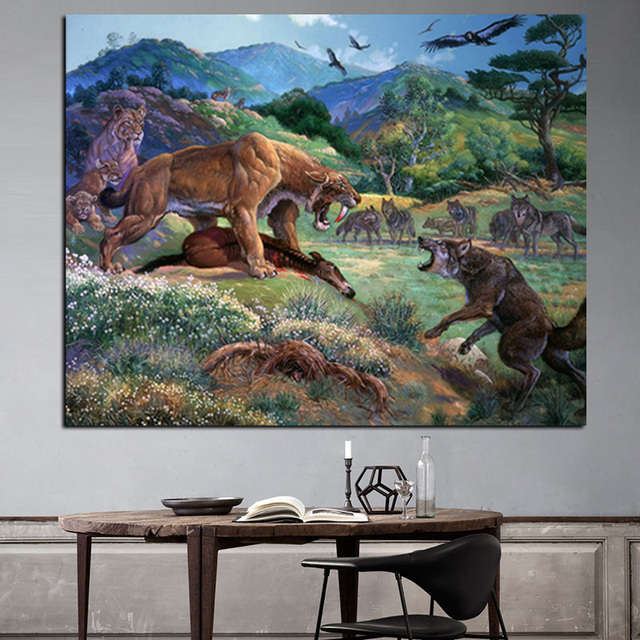 Print Saber Tooth Tiger With Wolf Eagle Oil Painting On Canvas Modern Landscape Wall Picture For