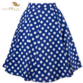 Sishion 50s Vintage Skirt Retro High Waist Pinup Polka Dot Skirt Rockabilly Swing Summer Skirts For Women Blue Red Plus Size XXL