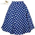 Sishion cuenta con 50 s Vintage Falda de Cintura Alta Retro Pinup Polka Dot Skirt Rockabilly Swing Faldas de Verano Para Mujer Azul Rojo Más El Tamaño XXL