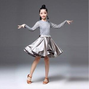 Image 4 - Latin dans elbise kızlar uzun kollu dantel standart balo salonu dans elbiseler çocuklar için performans giyim Salsa giysi için
