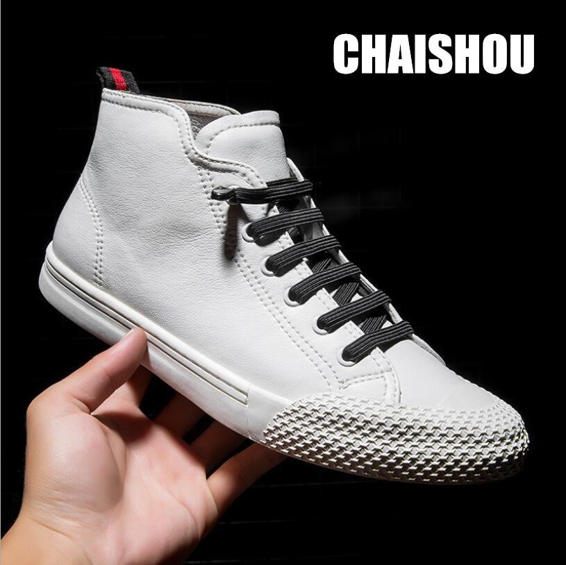 Couro genuíno designer sapatos masculinos couro de vaca sapatos casuais ao ar livre de alta qualidade apartamentos andando laço-up homem calçado CS-640
