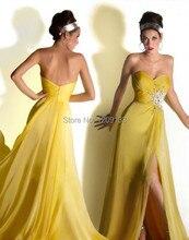 Abendkleid 2015 sexy weg von der schulter high side slit chiffon gelb kleid zum party kleider vestidos de noche