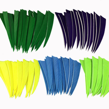 50PCS Turkey Arrow Feather Van 4 inch Shield Fletch Vanes Natural Archery Bow Feathers Carbon Fiberglass Shooting Hunting 4 цена