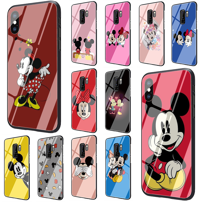 Kissing Lovers Mickey Minnie Tempered Glass phone case for Samsung S7 Edge S8 S9 S10 Plus Note 8 9 A10 20 30 <font><b>40</b></font> 50 <font><b>60</b></font> 70 image
