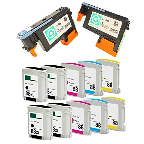 10 Pack 88XL Ink Cartridge and 2 Pack 88 Printhead C9381A C9382A for OfficeJet Pro L7750 L7780 L7500 L7650 L7680 1set x new excellently print head for hp88 c9381a c9382a free shipping for hp 88 printhead k550 5300 5400