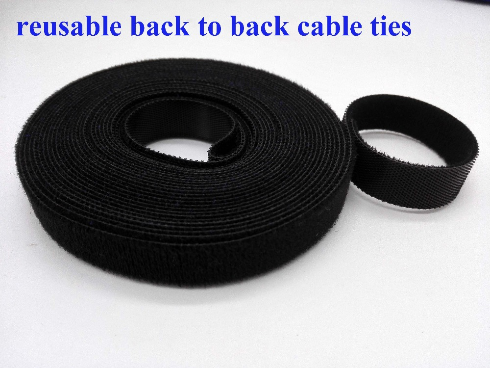 2rolls black 10mm*5M Nylon Reusable Cable Ties Nylon Cable Tie Strap Stick Ties Computer PC TV Wire Magic tape management