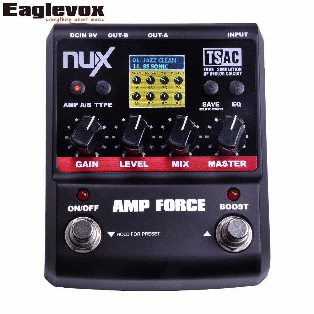 NUX AMP силы Гитары педаль эффектов Stomp Коробки DSP моделирование AMP КАБИНЕТ симулятор 9 пресетов Правда Обход