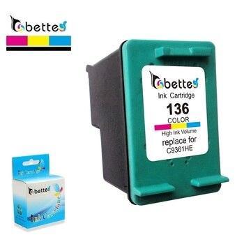 Bette wkład atramentowy zamiennik dla HP 136 Deskjet D4163 5443 6313 2573 Photosmart 2570 2573 7800 7830 C3183 D5163 PSC 1510 1513