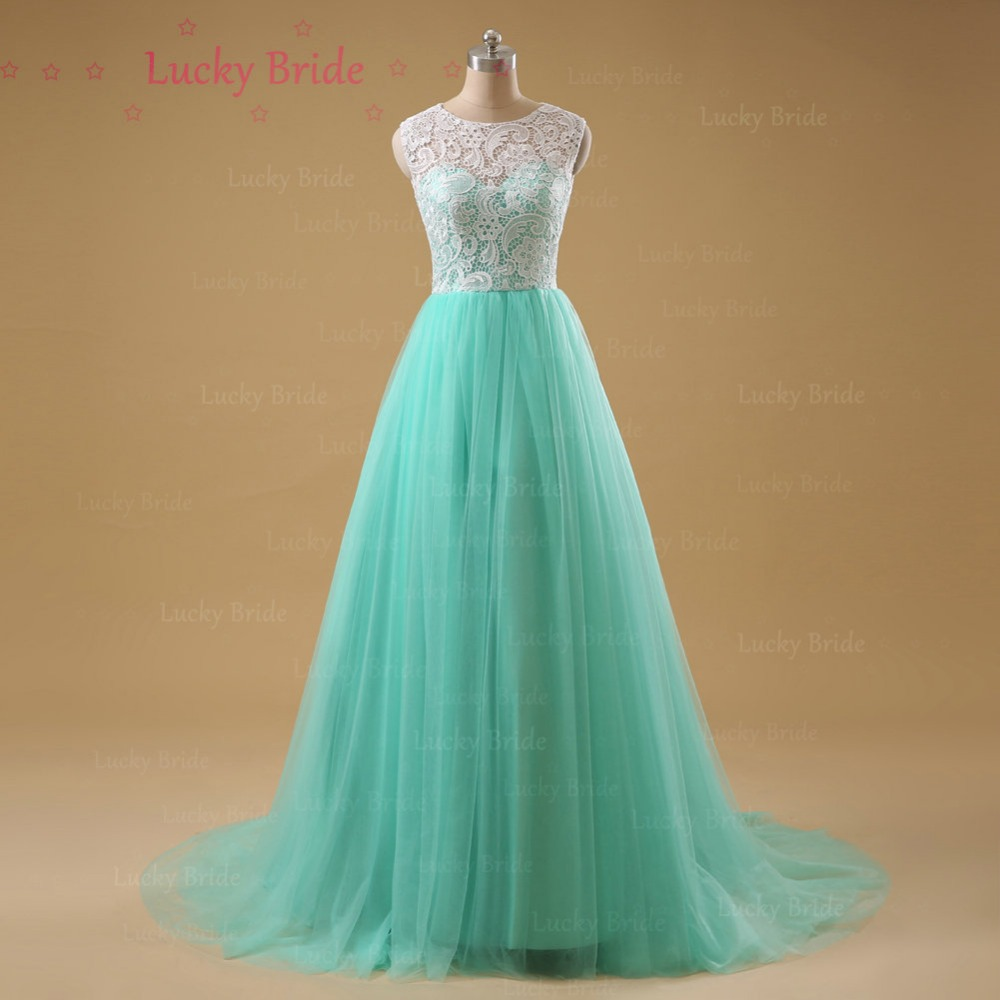 Mint Green Prom Dress with O Neck A Line Lace Evening Dresses 2017 ...