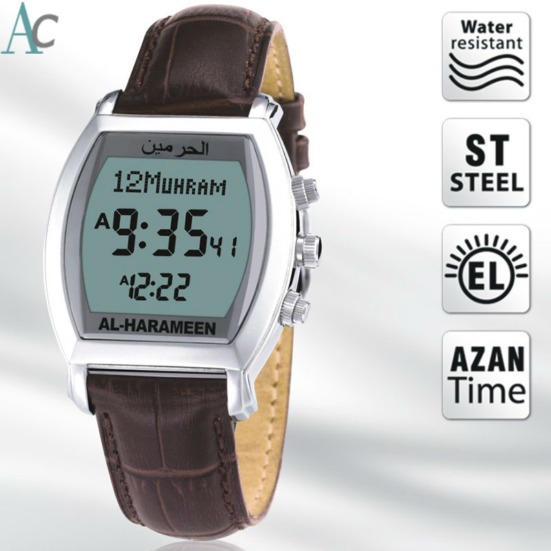 Muslim Qibla Watch With Azan Time And Hijri Alfajr Watch 6260 Azan Watch With Prayer Alarm Tonneau Watch For Muslim Men's Watches