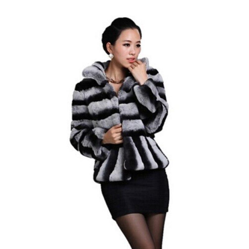2017 Mais Novo Das Senhoras Impresso Natural Rex Coelho Fur Coat Jacket Mandarim Collar Mulheres Inverno Fur Casacos Casacos Sobretudo 1000